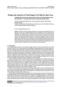 Design and Analysis of Tooth Impact Test Rig for Spur Gear