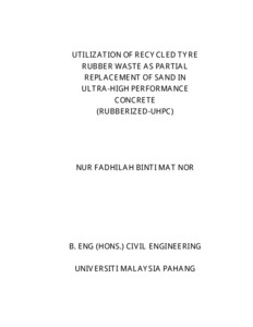 Utilization of recycled tyre rubber waste as partial replacement of