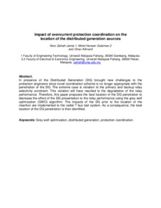Impact of overcurrent protection coordination on the