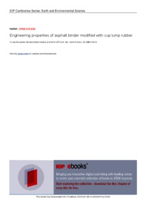 Engineering properties of asphalt binder modified with cup lump